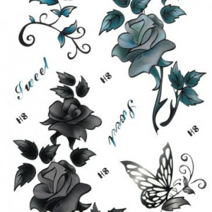 Tatuaj temporar -trandafiri indigo- 17x10cm