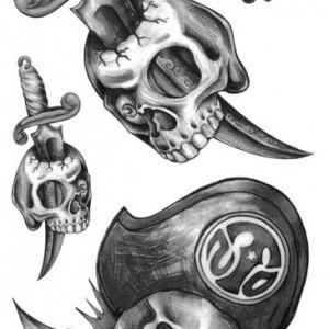 Tatuaj temporar -Craniu Pirat- 17x10cm