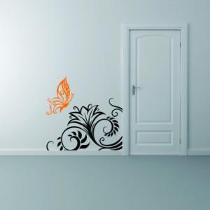 Sticker De Perete Fluture Cu Floare Pentru Colt