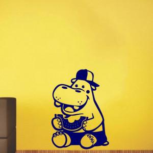Sticker De Perete Hipopotam Cu Pepene