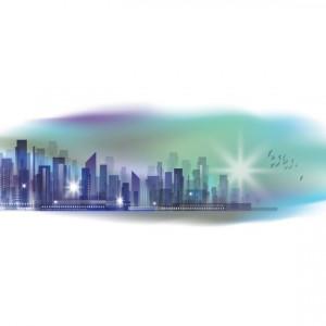 Sticker de Perete Orasul Albastru