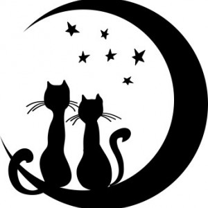 Sticker De Perete Pisicutele Si Luna