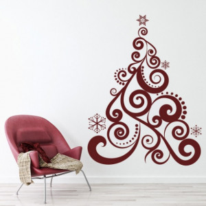 Sticker de Perete Swirl Christmas Tree Xmas