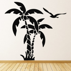 Sticker Palm Tree Tropical Birds