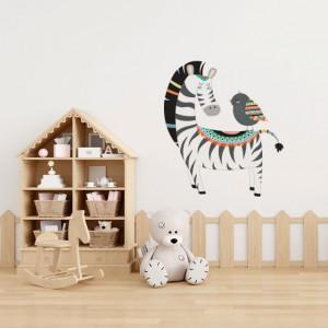 Sticker Zebra and the bird