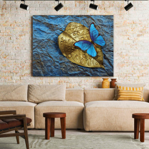 Tablou Canvas Blue Butterfly On A Golden Leaf