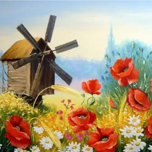 Tablou Canvas Efect Pictura Moara De Vant In Lan