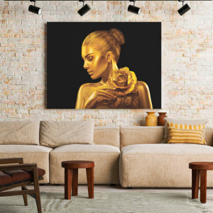 Tablou Canvas Golden Lady with rose