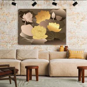 Tablou Canvas Lotusi Aurii