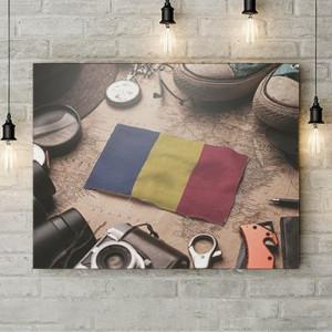 Tablou Canvas Romania steag miniatura