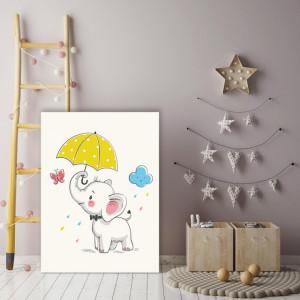 Tablou copii - Elefantel cu umbrela galbena