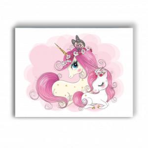 Tablou copii - Pink unicorn family
