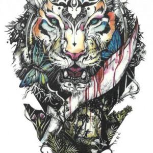 Tatuaj temporar -beautiful tiger- 17x10cm
