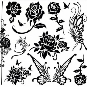 Tatuaj temporar colectie flori - fluturi  24X22cm