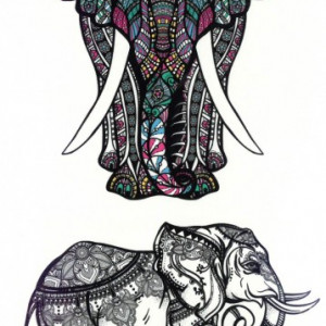 Tatuaj temporar -Elefant cu elemente tribale si design indian- 17x10cm