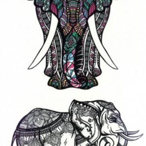 Tatuaj Temporar - Elefant Cu Elemente Tribale Si Design Indian - 17x10cm