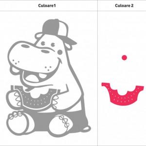 Hipopotam cu pepene (in doua culori)