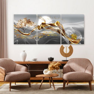 Set tablouri canvas - Deer and Golden Boat
