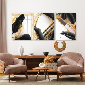 Set Tablouri Canvas - Tropical Black and Gold