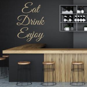 Sticker De Perete Cu Mesaj - Eat, Drink, Enjoy