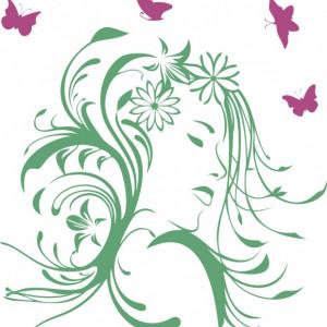 Sticker de Perete Fata cu Par Inflorit