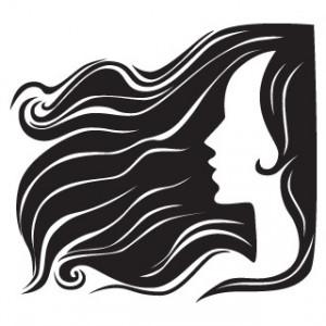 Sticker De Perete Femeie Cu Parul In Vant