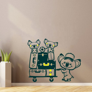 Sticker De Perete Koala Cu Bagaje (In Doua Culori)
