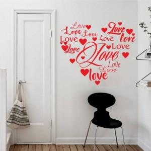 Sticker De Perete Love Scris In Forma De Inima