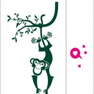 Sticker De Perete Maimuta Atarnata De Liana