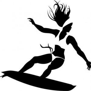 Sticker De Perete Surfing Girl