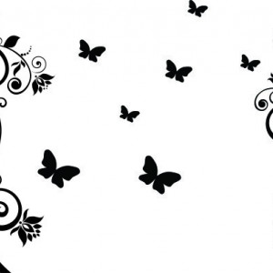 Sticker laptop - floare si fluturi 02