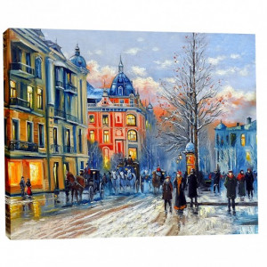 Tablou Canvas Efect Pictura Peisaj De Iarna La Amurg