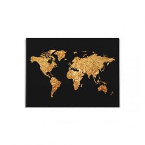 Tablou Canvas Harta lumii folie de aur
