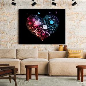 Tablou Canvas Rainbow Glowing Heart