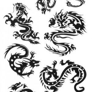 Tatuaj temporar -dragoni chinezesti- 17x10cm