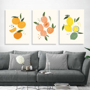 Set 3 Tablouri - Art print contemporan portocale lamai si piersici