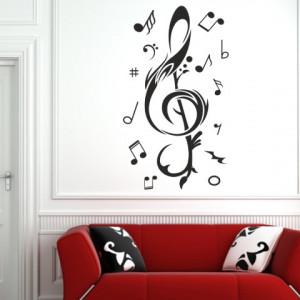 Sticker De Perete Cheie Muzicala