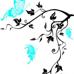 Sticker De Perete Crenguta Cu Fluturi