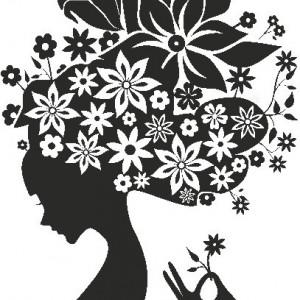 Sticker De Perete Fata Cu Flori In Par