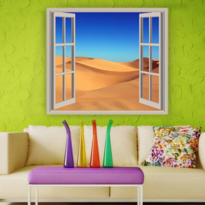 Sticker De Perete Fereastra In Desert
