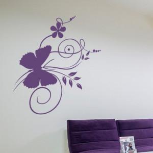 Sticker De Perete Fluture Pe Flori
