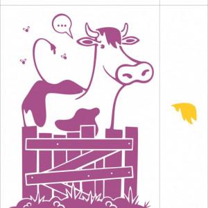 Sticker De Perete Vacuta (In Doua Culori)