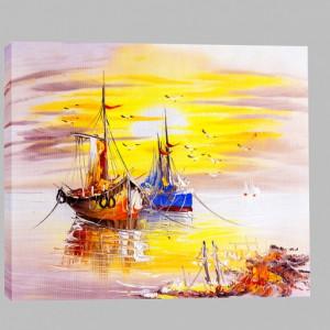 Tablou Canvas Efect Pictura Corabi Ancorate