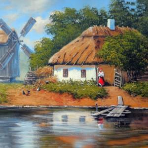 Tablou Canvas Efect Pictura Peisaj Rural