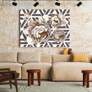 Tablou Canvas Golden Roses Mosaic