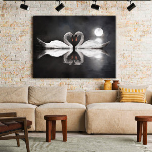 Tablou Canvas Swans in Love