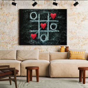 Tablou Canvas Tic Tac Toe Hearts