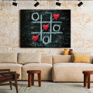 Tablou Canvas Tic Tac Toe Hearts