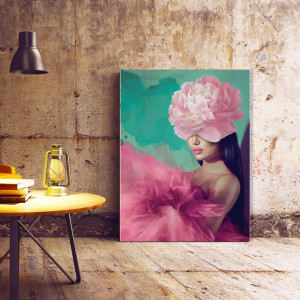 Tablou Canvas Woman with Pink Flower