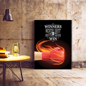 Tablou Motivational - Winners and Quitters (fire glove)